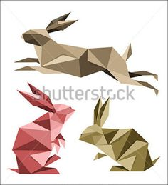 Collection of Different Origami Rabbit Poses stock vector - Clipart.me