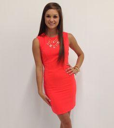 bright orange dress #swoonboutique