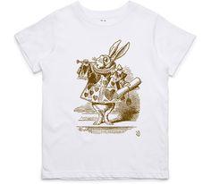 El Cheapo Alice in Wonderland - The White Rabbit Herald (Brown) Youth White T-Shirt