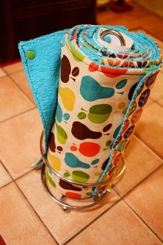 The UnPaper Towel, snappable homemade cloths, fit on a regular paper towel roll. (Cat Eyed KP)