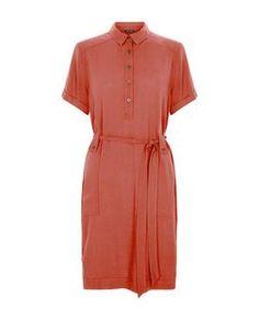Robe chemise corail à manches retroussées et lien à la taille | New Look