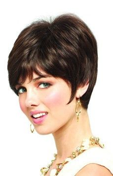"Wendy New Monofilament Ladies Wig By Amore Designer Wigs. This short textured ""coif"" is undeniably sexy with its long angular fringe. Has an extended top for a more modern cut. Stylish, easy to manage, and fashionable. Angular Fringe, Monofilament Wigs, Short Wigs, Womens Wigs, Wig Cap, Pixie Hairstyles, Hairline, Pixie Cut, Synthetic Hair"
