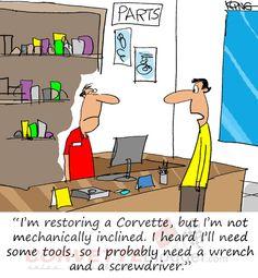 Saturday Morning Corvette Comic: Corvette Restoration Starts with Having the Right Tools