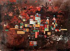 René Portocarrero Ciudad Flotante, 1952 mixed media on cardboard laid down on canvas 12 x 16 3/4 inches