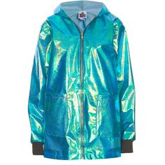 **Splash Anorak by The Ragged Priest ($78) ❤ liked on Polyvore featuring outerwear, jackets, tops, coats, blue, zipper jacket, blue anorak jacket, anorak coat, zip jacket and blue jackets