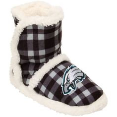 Buy Women's Philadelphia Eagles Flannel Sherpa Boot Slippers from the official online store of the Philadelphia Eagles! Eagles Fans Buy Women's Philadelphia Eagles Flannel Sherpa Boot Slippers and support Eagles Football. Eagles Sneakers, Eagles Clothing, Philadelphia Eagles Gear, Cold Weather Gear, Soft Slippers, Eagles Nfl, Football Outfits, Nhl Jerseys, Football Pictures