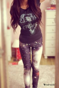 Black Galaxy Stars Print Elastic Leggings - perfect with a vintage rock band tee!!