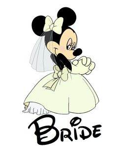 Custom Personalized Minnie Mouse Bride by AreWeThereYetDesigns Mickey Mouse And Friends, Mickey Minnie Mouse, Disney World Trip, Disney Vacations, Disney Dream, Disney Love, Mickey Mouse Kunst, Cute Couple Cartoon, Clipart