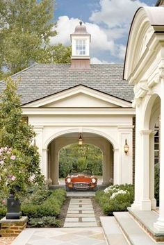 Traditional arched Porte Cochere Cupola, Transitional, Garage