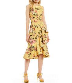 c1934a2fc34 Antonio Melani Lina Floral Print Ruffle Asymmetrical Hem Sleeveless Midi  Dress