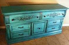 turquoise furniture | Turquoise & Black Glazed Dresser - Before & After | Facelift Furniture
