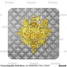 French Republic Gold Silver Fleur-de-lis Beverage Coaster