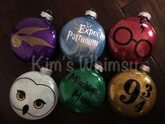 Harry Potter Glittered Ornaments - Free personalization by KimsWhimsy on Etsy https://www.etsy.com/listing/490662707/harry-potter-glittered-ornaments-free