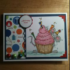 Handmade birthday card colored with copic markers