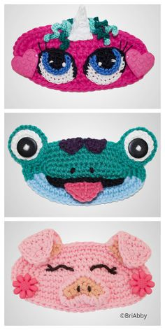 Crochet Mask, Crochet Faces, Crochet Gifts, Crochet Toys, Free Crochet, Crochet Frog, Crochet Stitches Patterns, Sewing Patterns Free, Dress Patterns