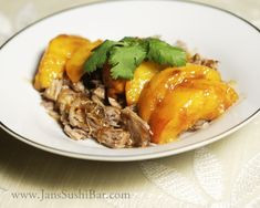 Pulled Pork with Balsamic-Glazed Peaches (try with turkey, chicken, venison, etc.)