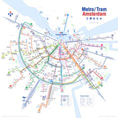 Updated public transport map of Amsterdam, now the North South metro line (blue one) is finished (Netherlands) Amsterdam Map, Visit Amsterdam, Amsterdam Netherlands, Amsterdam Things To Do In, Travel Netherlands, Train Map, Train Travel, Victoria Hotel Amsterdam, Transport Map