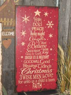 Primitive Wood Painted Christmas Holiday by JustHanginAroundPrim