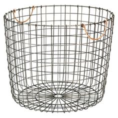 Threshold antique pewter round bin w/ copper handle  //for blankets//