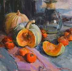 White Pumpkins and Persimmons by Lange Marshall Oil ~ 18 inches x 19 inches Still Life Drawing, Painting Still Life, Vegetable Painting, Still Life Artists, Fruit Painting, Environmental Art, Texture Art, Watercolor Art, Illustration Art