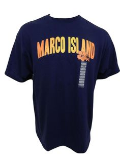 Marco Island Florida Souvenir T-Shirt Size L Large Navy Blue New Short Sleeve #Delta #GraphicTee
