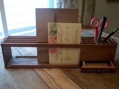 Vintage Modern Wooden Desk Organizer Made in Japan