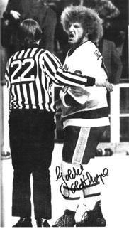 "Fighting Saints (WHA) action shot of Bill ""Goldie"" Goldthorpe, the real-life inspiration for Ogie Ogilthorpe in Slap Shot. Hockey Highlights, Slap Shot, Hockey Pictures, Rangers Hockey, Hockey Players, Hockey Drills, Flyers Hockey, National Hockey League, Running Shirts"
