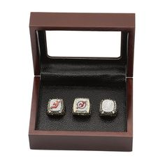 New Jersey Devils NHL Championship Rings Set 3 in One Wooden Display Box Collections - Display Box Set