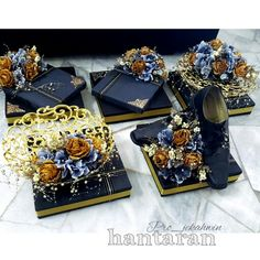 Hantaran tema gold black Wedding theme