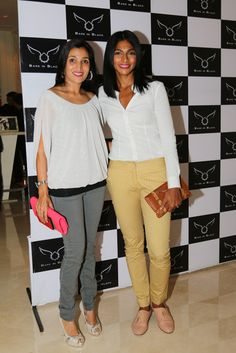 Nina Manuel with a friend at Bare in Black Launch.