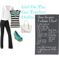 Love this teacher outfit idea! black, white and blue, so simple,yet fashionable :)