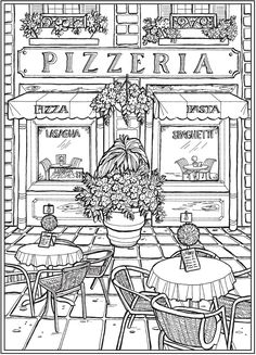 Dover Publications: Creative Haven Main Street Coloring Book Detailed Coloring Pages, Printable Adult Coloring Pages, Cute Coloring Pages, Disney Coloring Pages, Coloring Pages To Print, Coloring Pages For Adults, Dover Coloring Pages, House Colouring Pages, Free Coloring