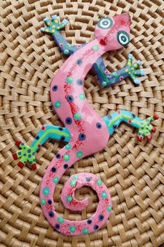 Recycled Steel Drum Hand Painted Gecko Fair Trade Handmade in Haiti $12.99