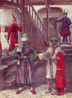 "In the barracks of the Janissaries: 1. Adzhemi-oglan in coat ""yagmurluk"", bloomers ""chagshyr."" Felt hat on his head ""kyulyah"" (exclusively yellow) - a distinctive detail suit Ajami oglan. On a stick - kazan (cauldron), a symbol of the Janissaries fraternity. 2. Recruit taken to recruitment - devisherme (from ""devishermek"" - collect) in one of the provinces of the empire, in a red dress breech (red and yellow - the basic colors Janissaries). 3. Kyatib - clerk. In the hands holds the document…"