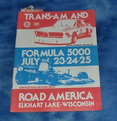 1976 ROAD AMERICA Trans-Am Formula 5000 Racing Program w/ 2 Paddock Passes