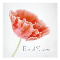 Simple Design Red Poppy Bridal Shower Invitations #bridalshower #invitations #floralphotography