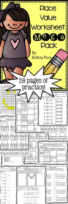28 Pages of Place Value practice. Includes both tens and ones as well as hundreds, tens and ones activities!