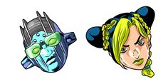 Jolyne Cujoh is the only JoJo woman with an athletic build, dark hair, and two green braids. The JoJo's anime cursor with Jolyne Cujoh and Stone Free! Athletic Build, Jojo Anime, Famous Girls, Jojo Bizarre, Jojo's Bizarre Adventure, Dark Hair, Braids, Stone, Woman