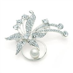silver crystal pearl lily ladies womens fashion dress brooch | 14589 | £11.95