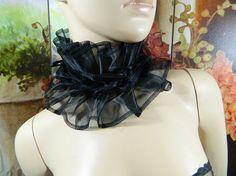black Organza ruffle Collar dessous Fairy Costume Angel Bolero Shrug Wrap Samba Tribal