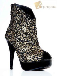 Stiefellette 9cm Vintage High Heel Schwarz Gold Damen Plateau Apropos