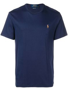 Polo Ralph Lauren embroidered logo T-shirt - Blue Polo Ralph Lauren, Ralph Lauren Store, Polo Jeans, Quality T Shirts, T Shirts For Women, Cotton Logo, Navy Blue, Short Sleeves, Classic Style