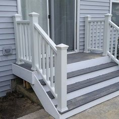 This is a small trex porch with trex railing system down to a brick patio. NO job is to big or small for decks unlimited inc.