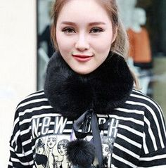 shipping Winter Leather grass imitation fake rabbit / fox fur collar children thicken double-sided ball scarf