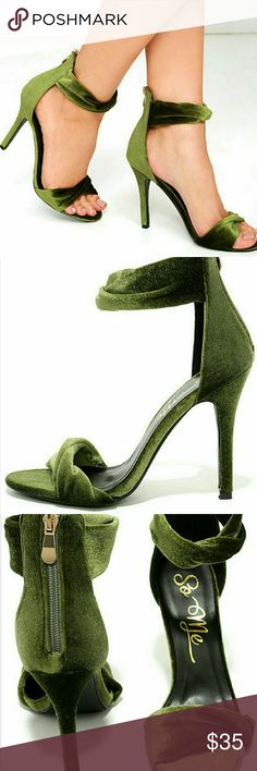 GORGEOUS NWT LuLu's Green velvet heels. Size 7 Beautiful NWT and box Lulu's emerald/forest green heels. Super cute and very festive for the holidays or new years eve! They are size 6.5 but fits like a 7. Sold out online. Ordered and never got to wear them for an event.   Bundles welcomed! Happy poshing! XO Lulu's Shoes Heels