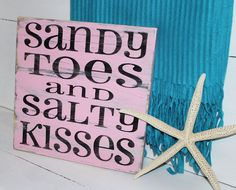 Beach Sign Sandy Toes Salty Kisses Coastal Beach by justbeachyshop, $28.50