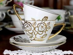 2 Hand Painted Japanese Vintage Teacups, Tea Cup and Saucer, Gorgeous Gilt Roses on White 12256