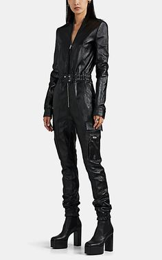 Black Catsuit, Leather Catsuit, Leather Jumpsuit, Leather Jacket, Jumpsuit Dress, Black Jumpsuit, Fabric Manipulation Fashion, Rick Owens Women, Origami Fashion