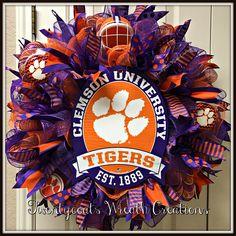 Clemson Tigers deco mesh wreath by Twentycoats Wreath Creations (2017)