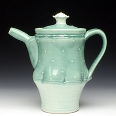 Teapot by Amelia Stamps. Chocolate Pots, Chocolate Coffee, Ceramic Teapots, Ceramic Pottery, Red Lodge, Clay Center, Cup And Saucer, Tea Time, Tea Party